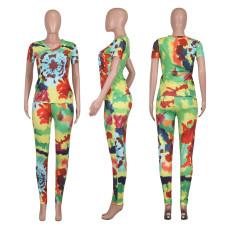 Casual Printed V Neck Short Sleeve 2 Piece Pants Set NIK-112