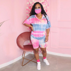 Tie Dye Pint V Neck Casual Two Piece Shorts Set Without Mask SH-S3759