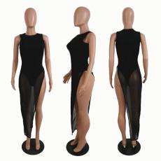 Sexy Bodysuit+Mesh See Through Dress 2 Piece Club Dress SHE-7169