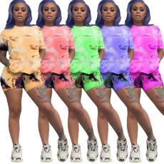 Tie Dye Print Casual Two Piece Shorts Set TK-6078