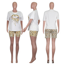 Casual Leopard Lips Print Two Piece Shorts Set NIK-109