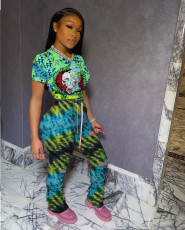 Tie Dye Cartoon Print Holes Stacked Pants 2 Piece Sets YF-9629