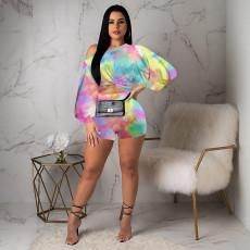 Sexy Tie Dye Puff Sleeve Two Piece Shorts Set NIK-110