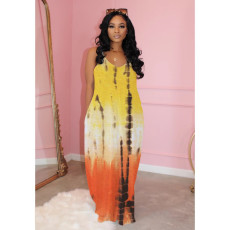 Sexy Tie Dye Print Loose Slip Maxi Dress MIL-L100