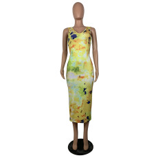 Sexy Tie Dye Sleeveless Open Back Long Dress BS-Z1178
