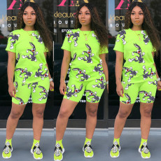 Cartoon Rabbit Print T Shirt Shorts Two Piece Sets MIL-L102