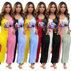 Plus Size Lips Sleeveless Patchwork Wide Leg Jumpsuits MX-1091