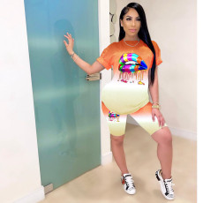 Plus Size Lips Print Gradient Two Piece Shorts Set MX-1090