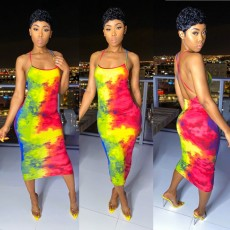 Sexy Tie Dye Print Backless Cross Strap Midi Dress BGN-BN058-1