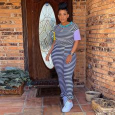 Black And White Striped Stitching Contrast Pants Set OD-8351