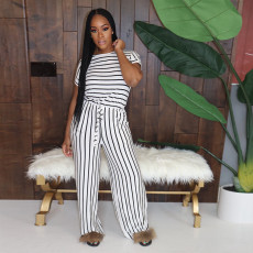 Casual Striped Drawstring Two Piece Pants Sets PN-6554
