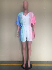 Multicolor V Neck Short Sleeve One-piece Rompers ORY-5150