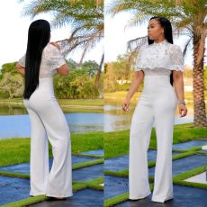 Fashion Casual Lace Sexy High Waist Solid Color Jumpsuit WZ-8259
