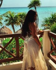 Floral Print Deep V Beach Dress One Piece Swimsuit MOF-8812