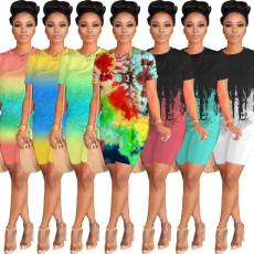 Tie Dye Print T Shirt Shorts Two Piece Sets WY-6674