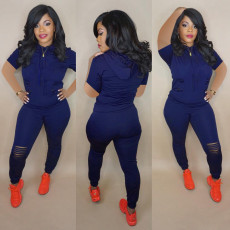 Plus Size Solid Hooded Holes Two Piece Pants Suit FNN-8380