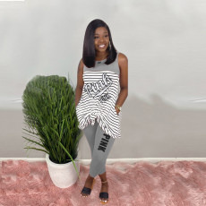 Pink Letter Print Striped Sleeveless 2 Piece Pants Set Plus Size HGL-1330