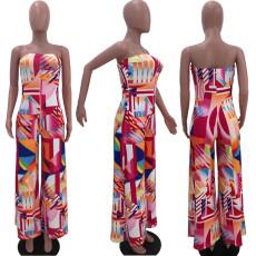 Sexy Fashion Printed Big Flared Jumpsuit OJS-9207