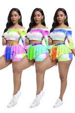 Tie Dye Print Slash Neck Two Piece Shorts Set LQ-5827