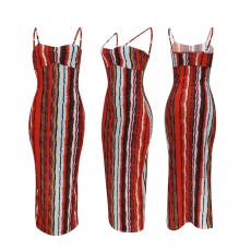 Sexy Suspender Print Dress YD-8202