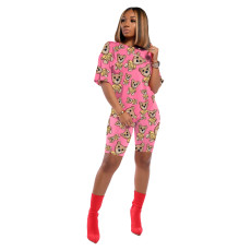 Casual Printed T Shirt Shorts Two Piece Set IV-8086
