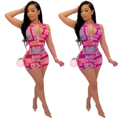 Casual Printed Sleeveless Zipper One Piece Rompers LM-8147