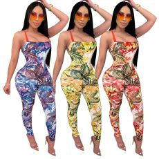 Sexy Floral Print Strappy Backless Jumpsuits SMR-9580