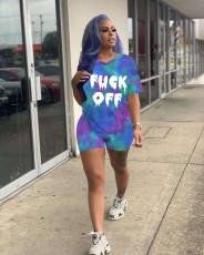 Tie Dye Letter Print V Neck T Shirt Shorts 2 Piece Suits MYP-8913