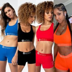 Solid Tank Tops Shorts Fitness Two Piece Sets OD-8345-1
