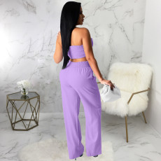 Solid Tube Tops Long Pants Sexy Two Piece Suits SMR-9613