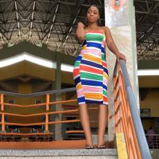 Colorful Stripe Sleeveless Bodycon Midi Tube Dress YD-8198