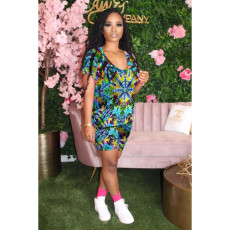 Printed Casual Short Sleeve Shorts Suit YMT-6149