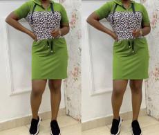 Plus Size Fashion Casual Leopard Stitching Hooded Dress YM-9201