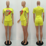 Fashion Classic Lip Print Casual Sports Two Piece Set MAE-2030