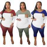 V-neck Multicolor Stitching Plus Size Nine-point Sleeve Two Piece Suit HEJ-6002