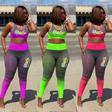 Plus Size Letter Print Gradient Fitness 2 Piece Sets YH-5144