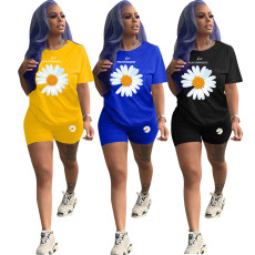 Plus Size Daisy Print T Shirt Shorts Two Piece Sets LDS-3218