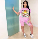 Cartoon Print T Shirt Shorts Two Piece Suit SHA-H6140