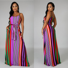 Colorful Striped Sashes Slip Maxi Dress OS-1042