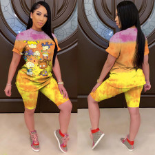 Classic Cartoon Printing Tie-dye Two-piece Set MOS-1078