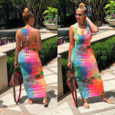 Sexy Tie Dye Backless Lace Up Sleeveless Maxi Dress LDS-3220