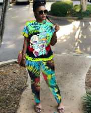 Cartoon Print Green Short Sleeve 2 Piece Pants Set LSD-8692