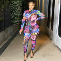 Sexy Printed See Through One Piece Jumpsuits YF-9649