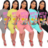 Plus Size Cartoon Print Two Piece Shorts Set YIY-5165