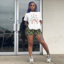 Plus Size Casual Printed T Shirt Shorts Two Piece Sets YIY-5169