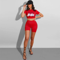 Plus Size Letter Print T Shirt Shorts Two Piece Sets YIY-5171