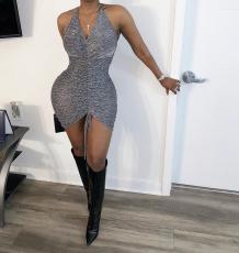Sexy Ruched Strappy Bodycon Mini Club Dress NM-8204