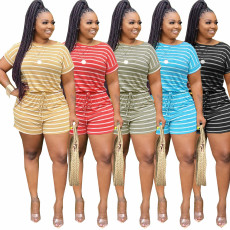 Plus Size Striped Short Sleeve Two Piece Shorts Set YNB-7080