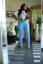 Plus Size Solid Casual Stacked Skinny Long Pants YNB-7068