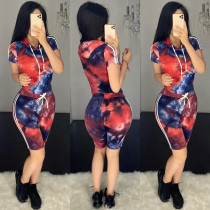 Tie Dye Print Hooded Sporty Two Piece Sets BS-1188